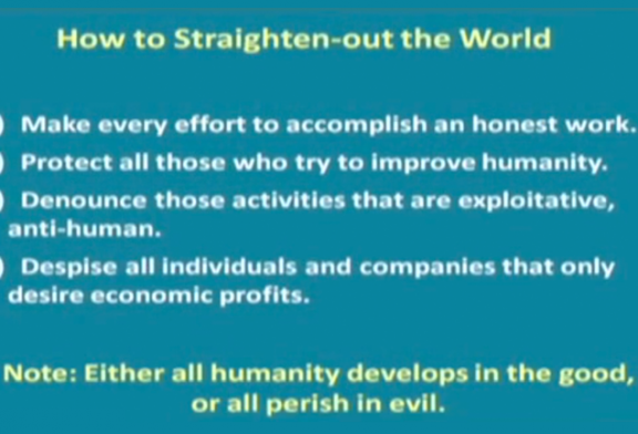 How to straighten out the world