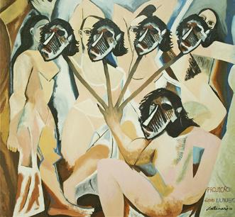 Neste quadro A Projeção, Catinari mostra que a mulher embaixo vê a si mesma em todas as outras.